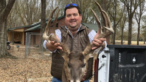 Drew Burton of Belzoni hunted this massive 12-point on the family farm in Humphreys County from Oct. 12 to Dec. 12. When he finally killed it, his rifle shot was less than 20 feet.