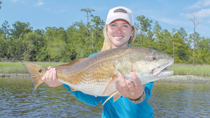 On cooler March days, look for redfish in slightly deeper water around dropoffs or around the deep edges of mud flats.