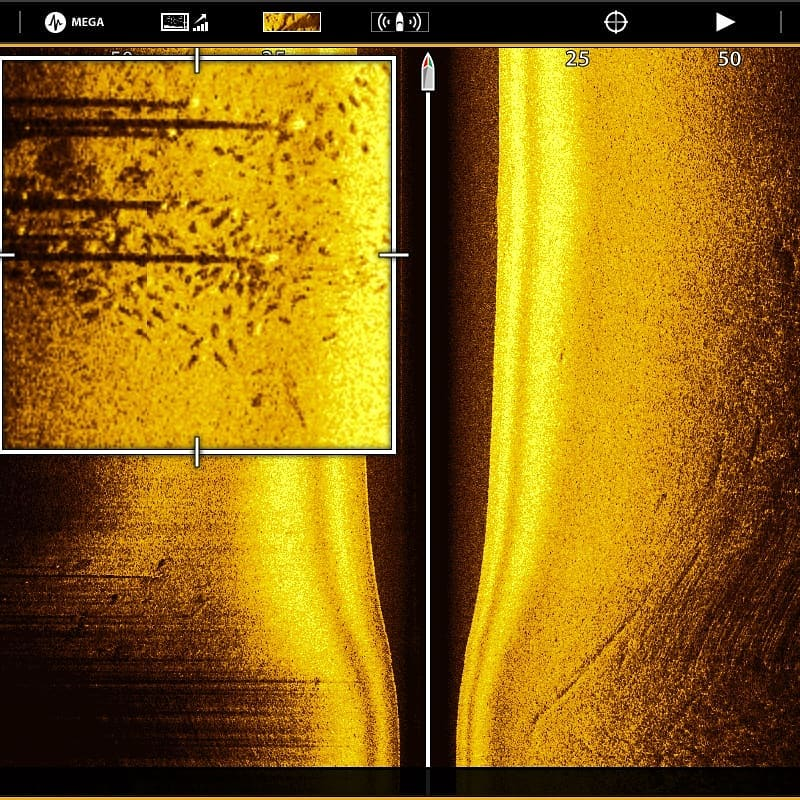 The Side Imaging feature on the Humminbird Solix helps Capt. Ben Powers locate redfish on docks.