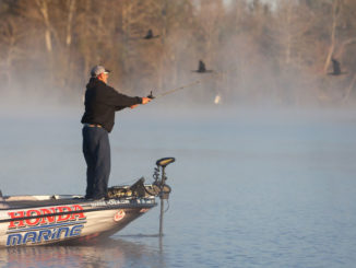 Before the sun gets up and the fog leaves the water, Paul Elias will be fishing a buzzbait and the Baby 1-Minus on the spawning flats at Bay Springs Lake, since I can't see the beds or the bass at that time of day.